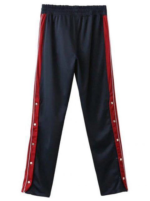 best Side Stripe Buttoned Hem Sports Pants - PURPLISH BLUE S Mobile