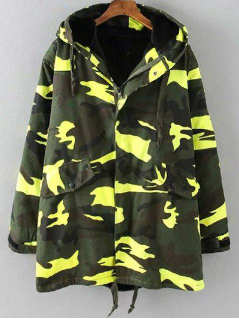 chic Camouflage Hooded Padded Utility Jacket - ARMY GREEN 3XL Mobile