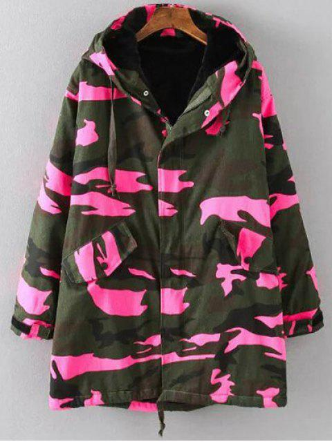 sale Camouflage Hooded Padded Utility Jacket - PINK 3XL Mobile