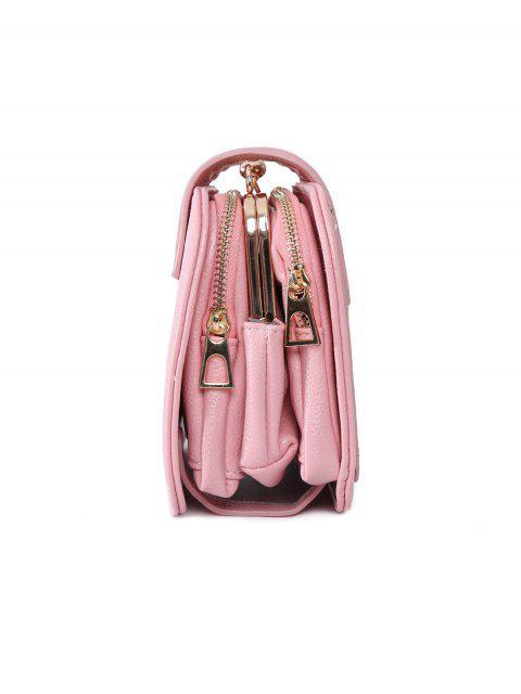 sale Kiss Lock PU Leather Crossbody Bag - PINK  Mobile