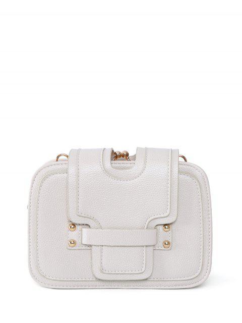 buy Kiss Lock PU Leather Crossbody Bag - OFF-WHITE  Mobile