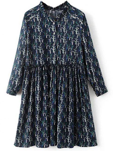 hot Tree Print Ruff Collar Smock Dress - DEEP BLUE S Mobile
