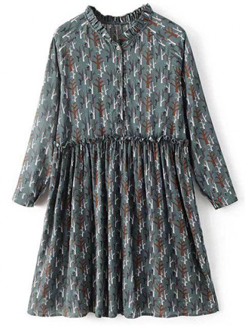 outfit Tree Print Ruff Collar Smock Dress - GREEN GREY L Mobile