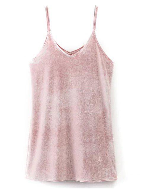 women's Cami Mini Velvet Dress - PINK M Mobile