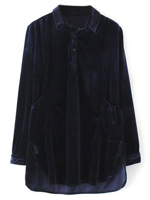 best Mini Velvet Tunic Dress - PURPLISH BLUE L Mobile
