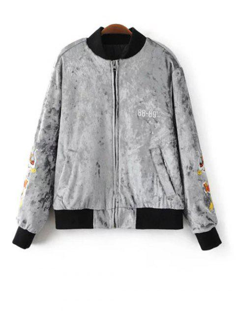 lady Velvet Embroidered Padded Jacket - LIGHT GRAY S Mobile