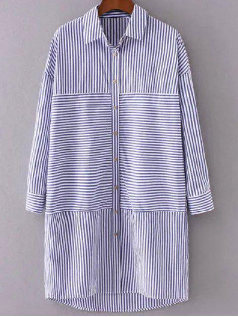 trendy Button Up Striped Shift Shirt Dress - STRIPE S Mobile