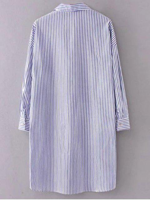 latest Button Up Striped Shift Shirt Dress - STRIPE M Mobile