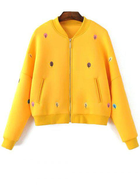 womens Tree Embroidered Space Cotton Jacket - YELLOW S Mobile