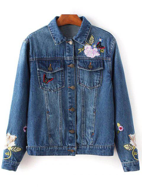 hot Dark Wash Floral Embroidered Denim Jacket - DENIM BLUE M Mobile