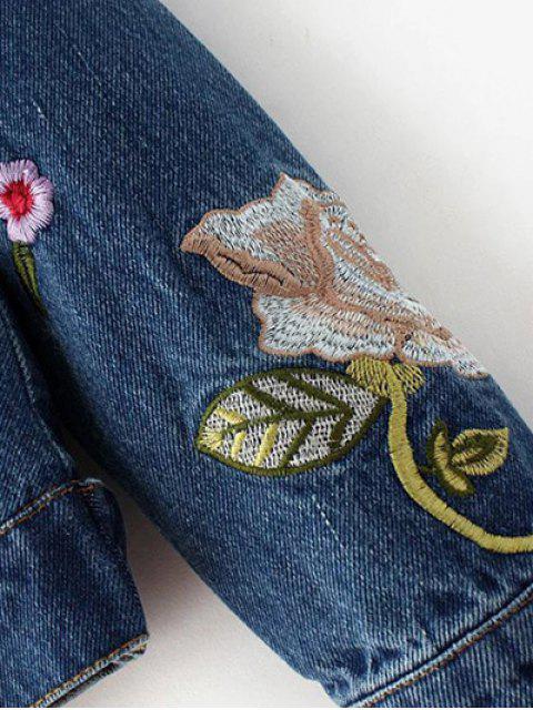 hot Dark Wash Floral Embroidered Denim Jacket - DENIM BLUE M Mobile