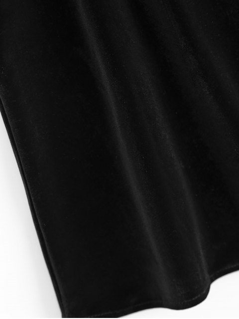 hot Eyelash Lace Velvet Camisole Top - BLACK L Mobile