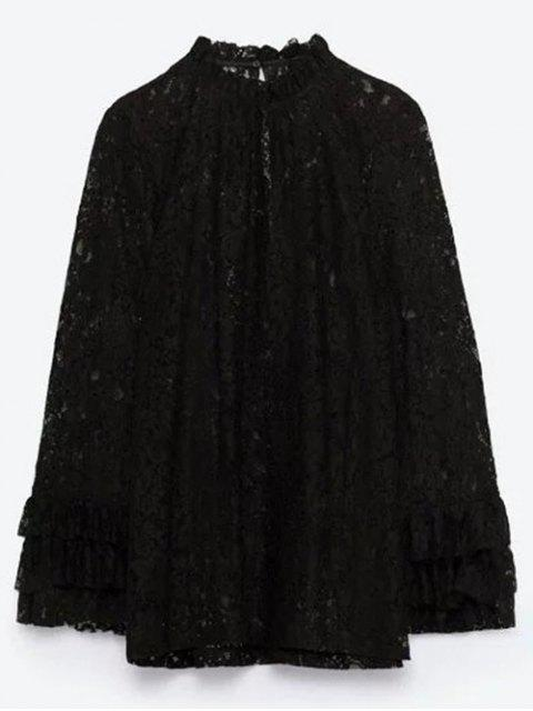 hot Layered Ruff Collar Lace Blouse - BLACK S Mobile
