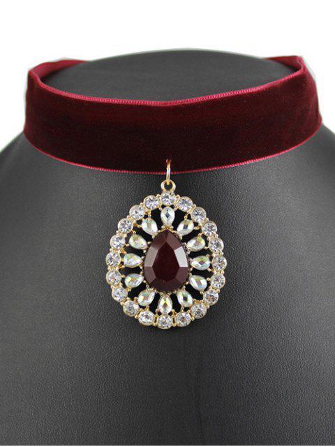 women Teardrop Rhinestone Velvet Choker - WINE RED  Mobile