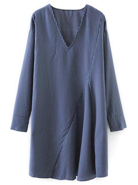 buy Striped V Neck Sorry Dress - BLUE S Mobile