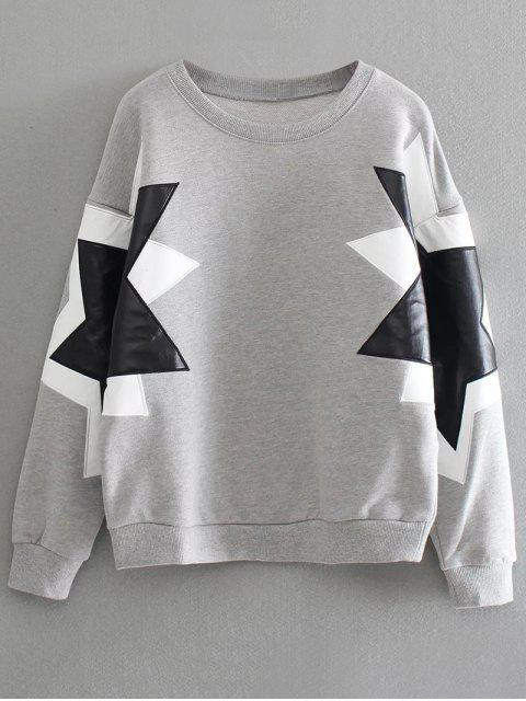 unique PU Leather Pentagram Pattern Sweatshirt - GRAY ONE SIZE Mobile