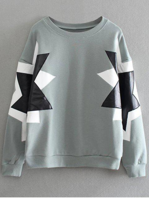 sale PU Leather Pentagram Pattern Sweatshirt - SAGE GREEN ONE SIZE Mobile