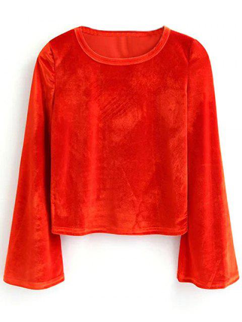 women Pleuche Flare Sleeve Cropped Tee - RED S Mobile