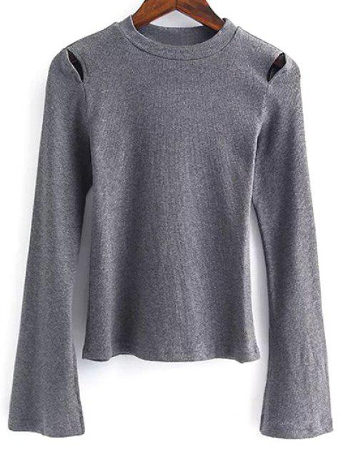 lady Flare Sleeve Cut Out Ribbed Knitwear - GRAY M Mobile