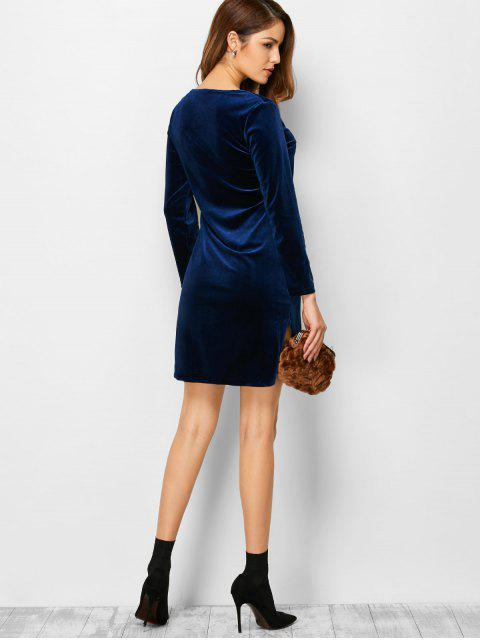 hot High-Low Mini Long Sleeve Party Dress - BLUE M Mobile