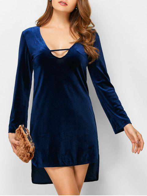 outfit High-Low Mini Long Sleeve Party Dress - BLUE S Mobile