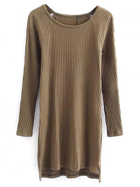 latest Cutout Ribbed Knitwear Dress - KHAKI M Mobile