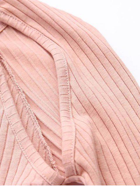 trendy Cutout Ribbed Knitwear Dress - KHAKI S Mobile