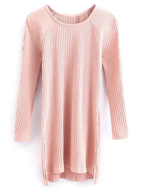 fancy Cutout Ribbed Knitwear Dress - PINK M Mobile