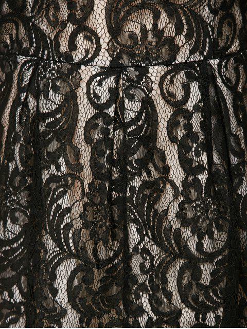 online A Line V Back Lace Dress - BLACK M Mobile
