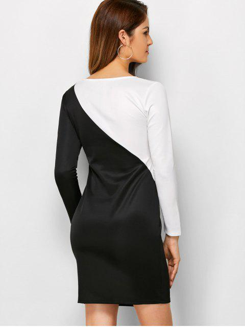affordable Color Block Cutout Sheath Dress - WHITE AND BLACK S Mobile