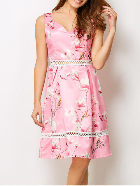 hot V Neck Floral Hollow Out Dress - PINK L Mobile
