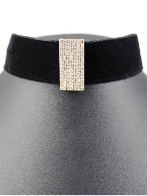 best Rectangle Rhinestone Velvet Choker -   Mobile