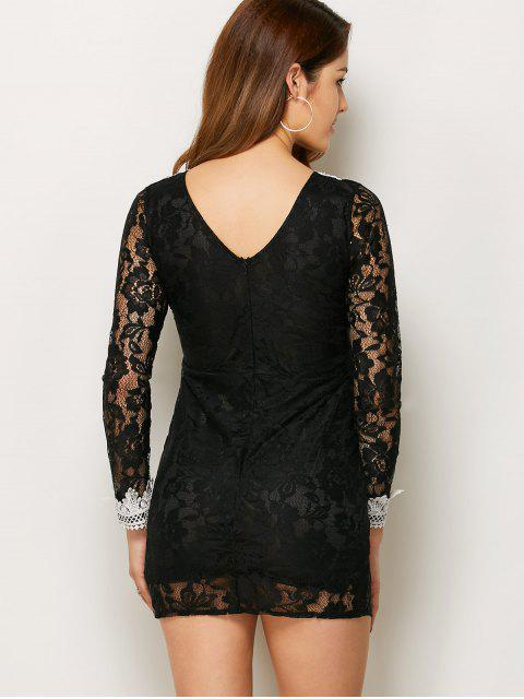 hot V Neck Bodycon Mini Lace Dress - BLACK XL Mobile