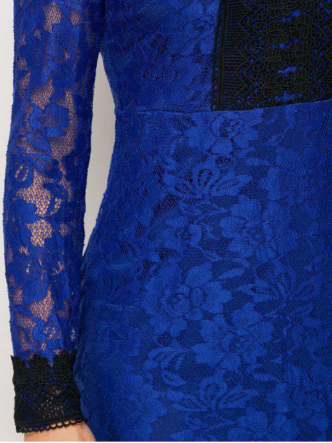 Robe en dentelle Mini V Neck bodycon - Bleu M Mobile