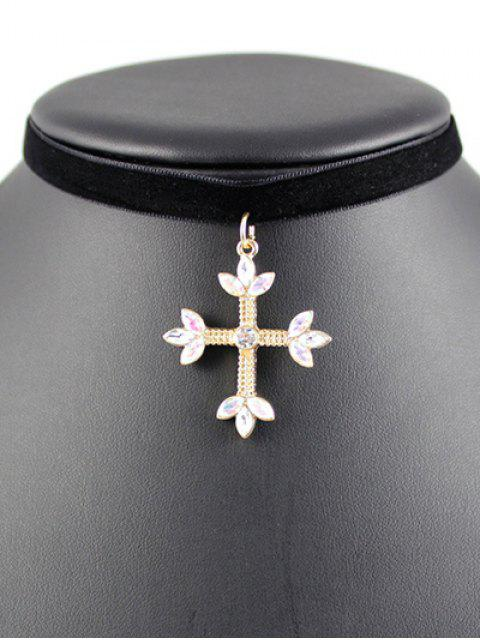 fancy Cross Velvet Choker - BLACK  Mobile