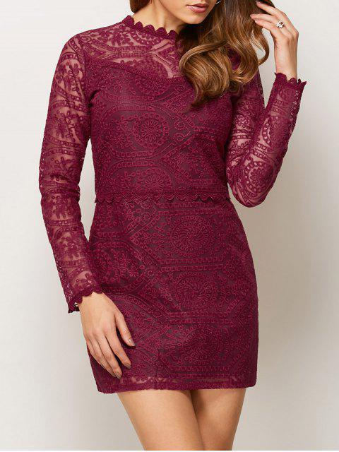 fancy Lace Ruff Collar Mini Dress - BURGUNDY L Mobile