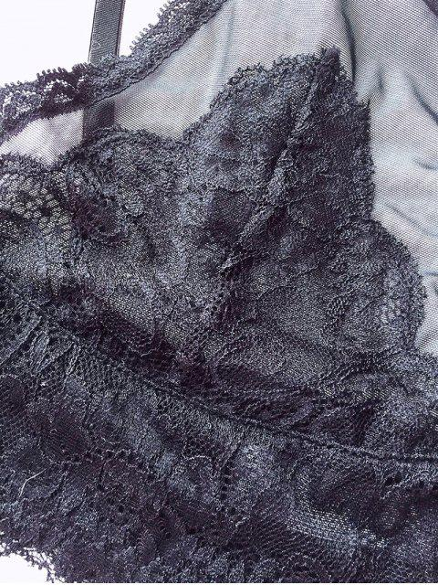 fashion Plunging Neck Lace Bralette - BLACK M Mobile