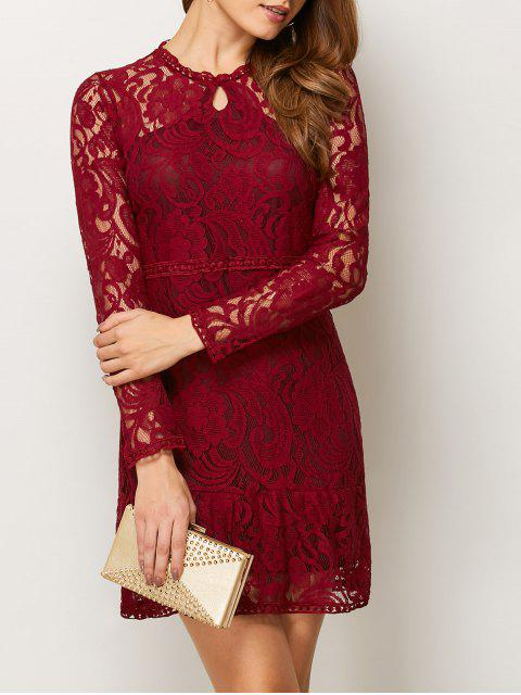 women Openwork Long Sleeve Lace Mini Dress - RED S Mobile