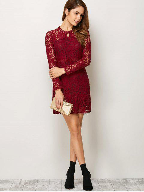 womens Openwork Long Sleeve Lace Mini Dress - RED M Mobile