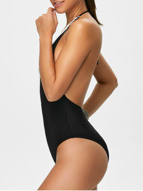 affordable Backless Plunge Neck Lacework Swimwear - BLACK L Mobile