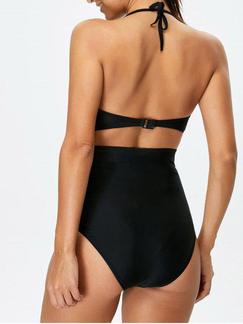 latest Bowknot Cut Out One-Piece Swimwear - BLACK 2XL Mobile
