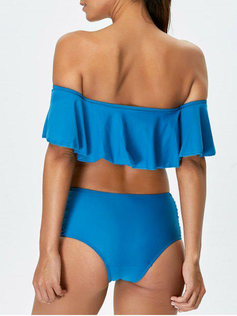new Padded Ruffles Top With Cutout Briefs Bikini - PEACOCK BLUE XL Mobile