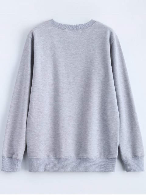 unique Streetwear Letter Pattern Sweatshirt - GRAY L Mobile