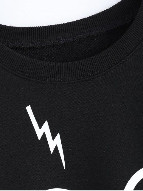 womens Streetwear Glasses Pattern Sweatshirt - BLACK M Mobile