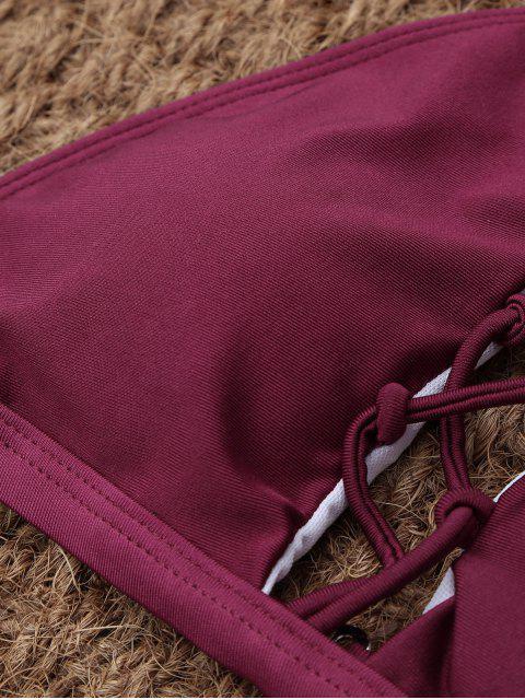 hot Crisscross Cutout High Neck Bikini - BURGUNDY XL Mobile