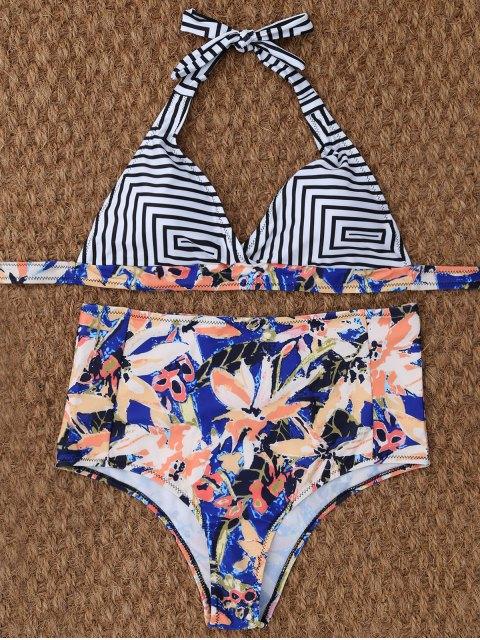 womens Stripe Leaf Print Halter Bikini - MULTICOLOR M Mobile