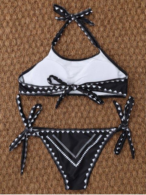 best Tie Side Halter Thong Bikini - BLACK S Mobile