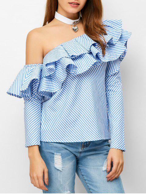 shop Skew Neck Ruffles Striped Blouse - STRIPE M Mobile