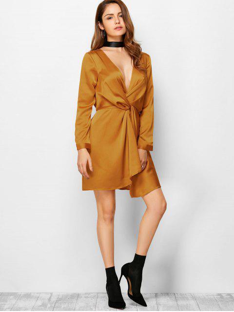 new Plunge Neck Jersey Mini Dress - SUGAR HONEY M Mobile
