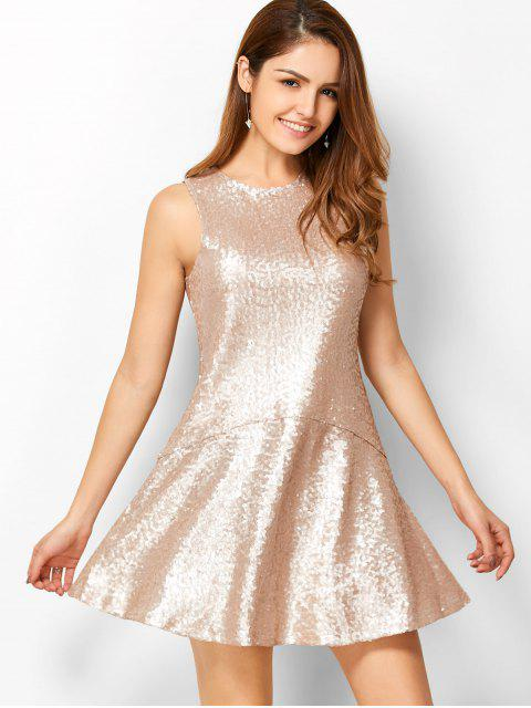 outfit Sequined Cut Out Jewel Neck Dress - BEIGE 2XL Mobile